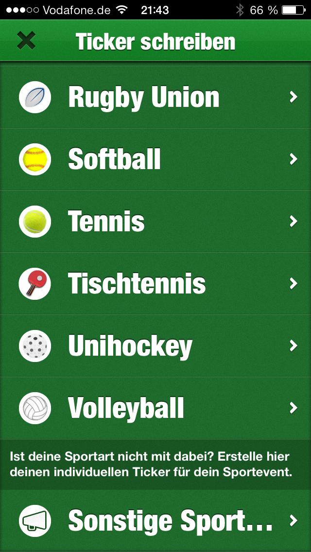 Tickaroo Sportart auswählen